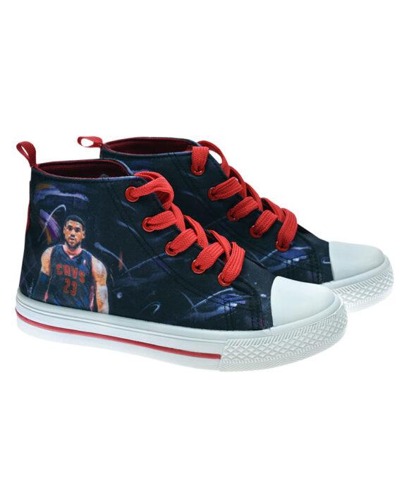 """Παιδικά πάνινα παπούτσια ψηλά με κορδόνια SUPER STAR THE KING"""""""" - ΠΑΠΟΥΤΣΙΑ ΚΑΜΒΑΣ"""