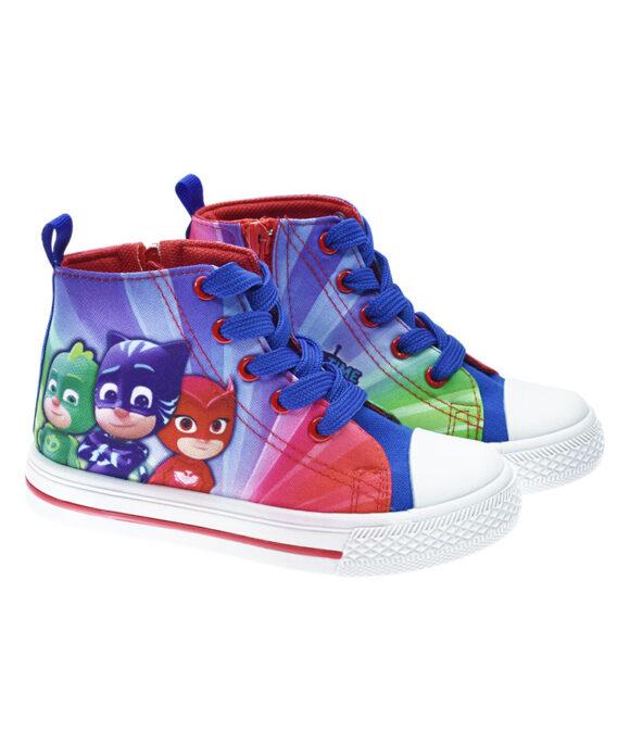 """Παιδικά πάνινα παπούτσια ψηλά με κορδόνια & φερμουάρ """"PJ MASKS"""" - PJ MASKS"""