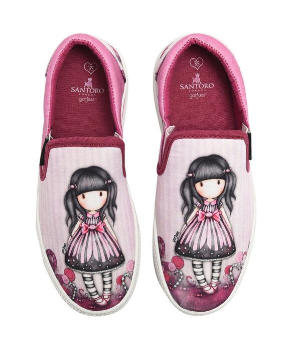 Παιδικά πάνινα παπούτσια χαμηλά χωρίς κορδόνια Santoro Gorjuss  SUGAR & SPICE - SANTORO