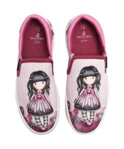 """Παιδικά πάνινα παπούτσια χαμηλά χωρίς κορδόνια Santoro Gorjuss """"SUGAR & SPICE"""" - SANTORO"""