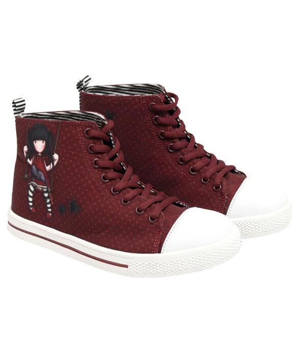 Παιδικά πάνινα παπούτσια ψηλά με κορδόνια Santoro Gorjuss  Ruby - SANTORO