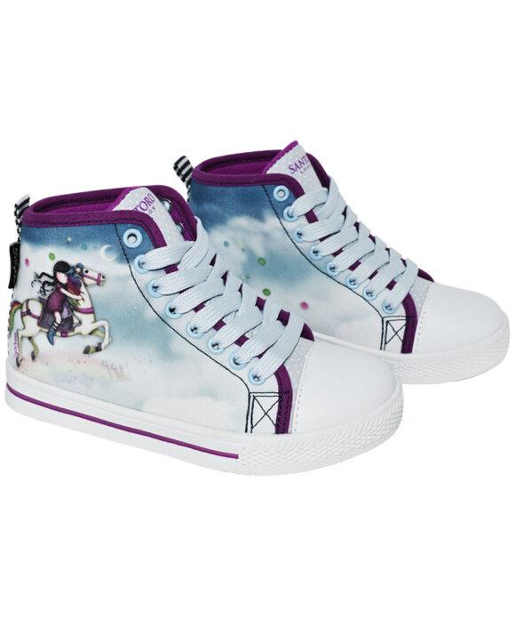 Παιδικά πάνινα παπούτσια ψηλά με κορδόνια Santoro Gorjuss  THE RUNAWAY - SANTORO