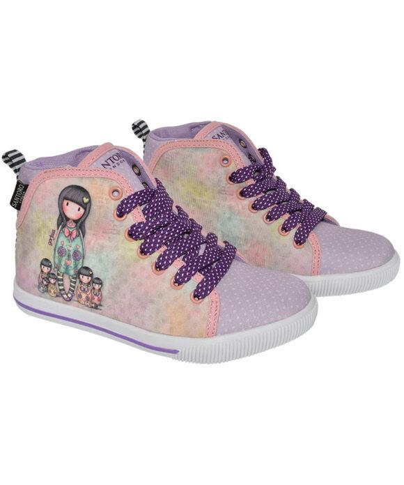 Παιδικά πάνινα παπούτσια ψηλά με κορδόνια Santoro Gorjuss  SEVEN SISTERS - SANTORO
