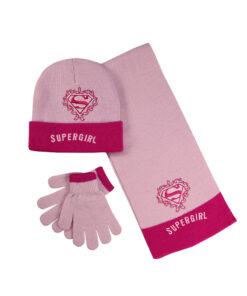"""Παιδικό σετ σκουφί κασκόλ & γάντια """"SUPERGIRL"""" - SUPER GIRL"""
