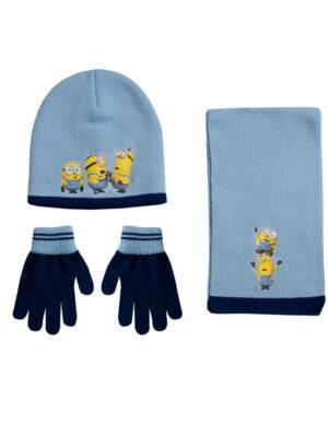 """Παιδικό σετ σκουφί κασκόλ & γάντια """"MINIONS"""" - MINIONS"""