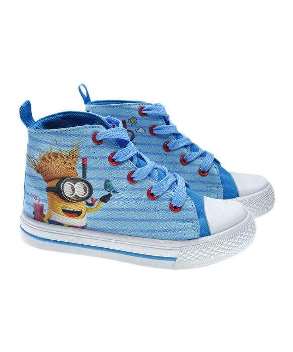 """Παιδικά πάνινα παπούτσια ψηλά με κορδόνια """"MINIONS"""" - MINIONS"""