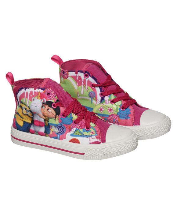 Παιδικά πάνινα παπούτσια ψηλά με κορδόνια  MINIONS - MINIONS