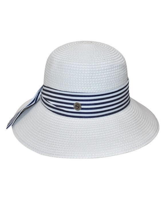 Καπέλο γυναικείο με ριγέ κορδέλα - STAMION