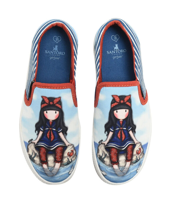 """Παιδικά πάνινα παπούτσια χαμηλά χωρίς κορδόνια Santoro Gorjuss """"LITTLE FISHES"""" - SANTORO"""