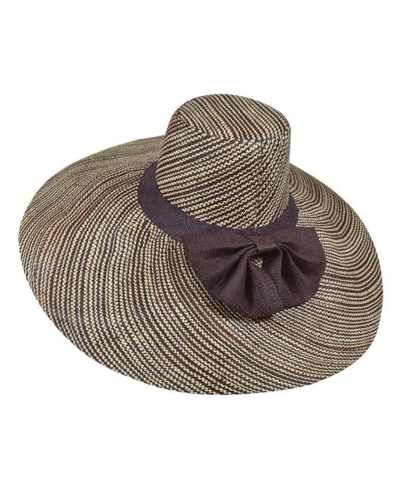 Καπέλο ψάθινο παραλίας δίχρωμο με μεγάλο φιόγκο