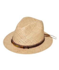 Καπέλο ψάθινο με μεταλλικό φτερό - STAMION