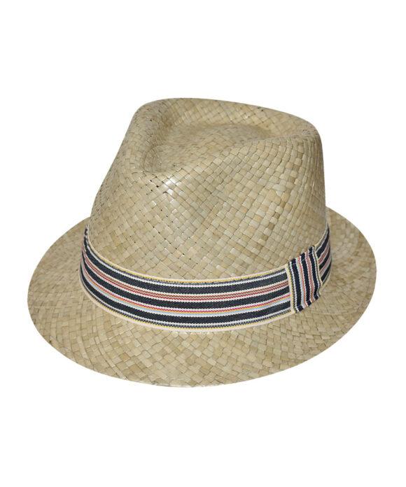 Καπέλο ανδρικό trilby με ριγέ κορδέλα - STAMION