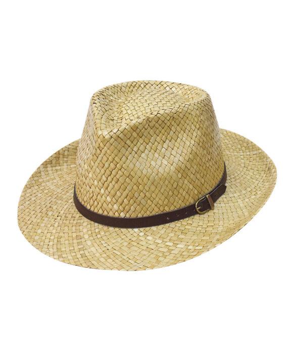 Καπέλο fedora ψάθινο με λουράκι - STAMION