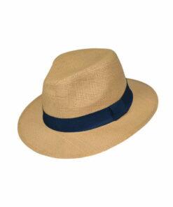 Καπέλο τύπου Panama με μπλε κορδέλα - STAMION