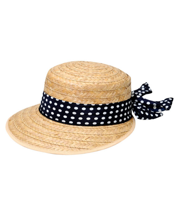 Καπέλο ψάθινο με πουά κορδέλα - STAMION