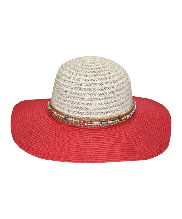 Καπέλο γυναικείο Floppy δίχρωμο με χάντρες - STAMION
