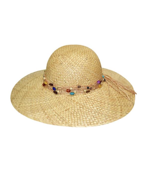 Καπέλο ψάθινο Floppy με χάντρες - STAMION