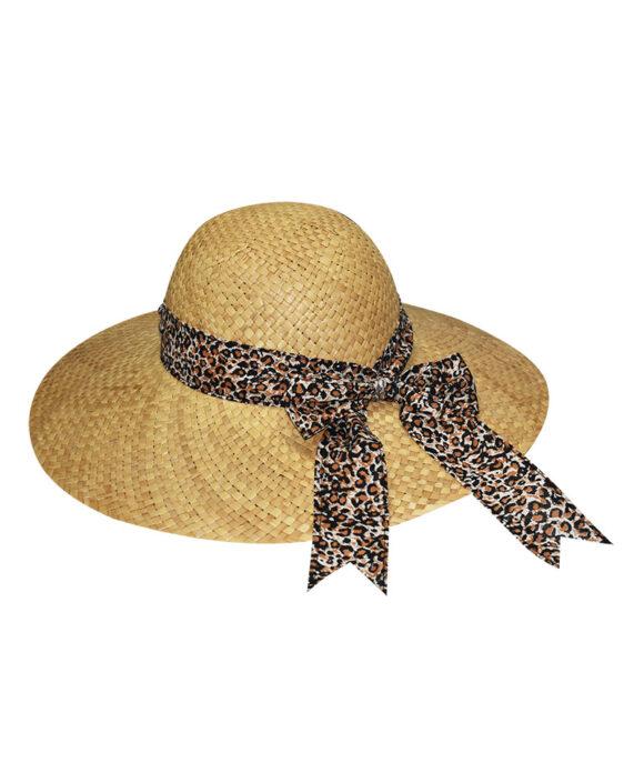 Καπέλο ψάθινο floppy με animal print κορδέλα - STAMION