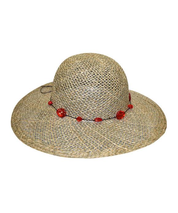 Καπέλο ψάθινο με πετράδια - STAMION