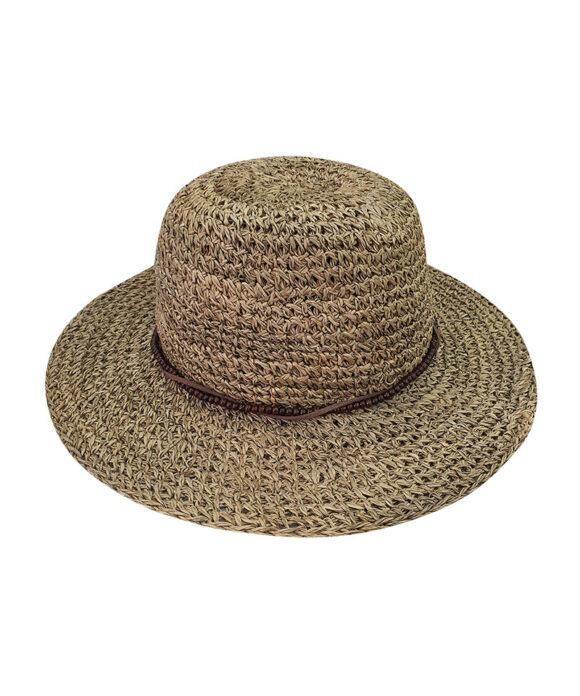 Καπέλο ψάθινο πλεκτό με ξύλινες χάντρες - STAMION