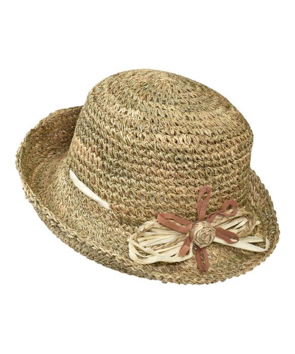 Καπέλο ψάθινο πλεκτό με φιόγκο - STAMION