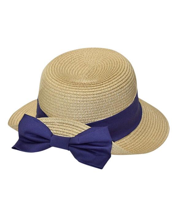 Καπέλο παραλίας κοφτό με πουά κορδέλα - STAMION