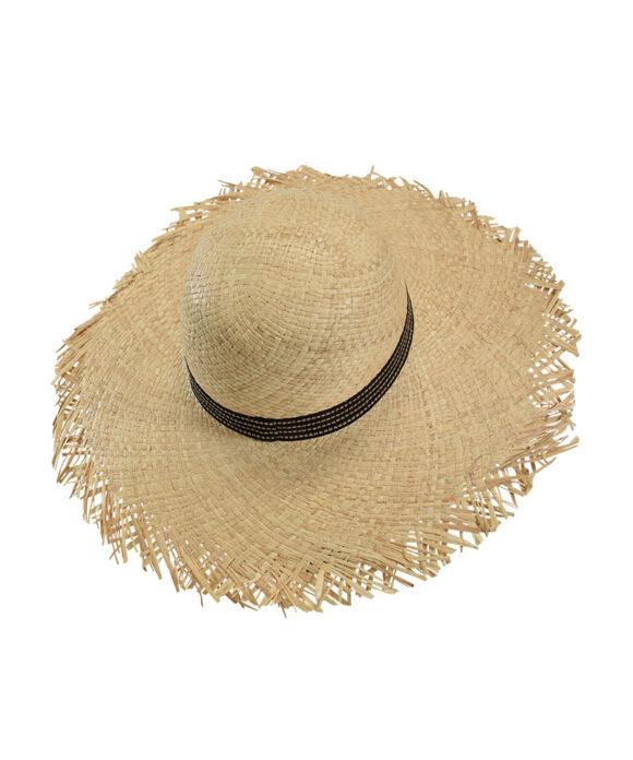 Καπέλο παραλίας με ξέφτια και κορδέλα Outline - STAMION
