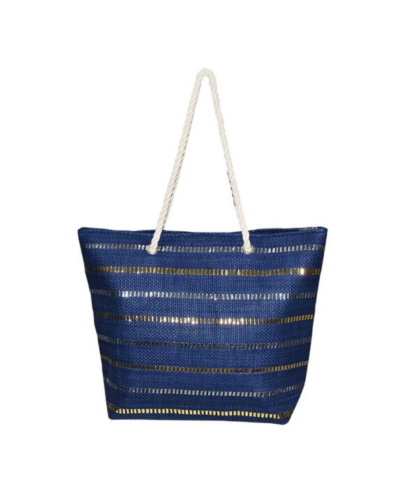 Τσάντα θαλάσσης με μεταλλιζέ ρίγες - STAMION