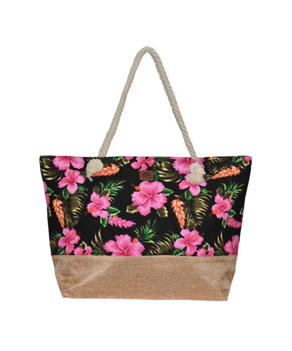 Τσάντα θαλάσσης με λουλούδια - STAMION