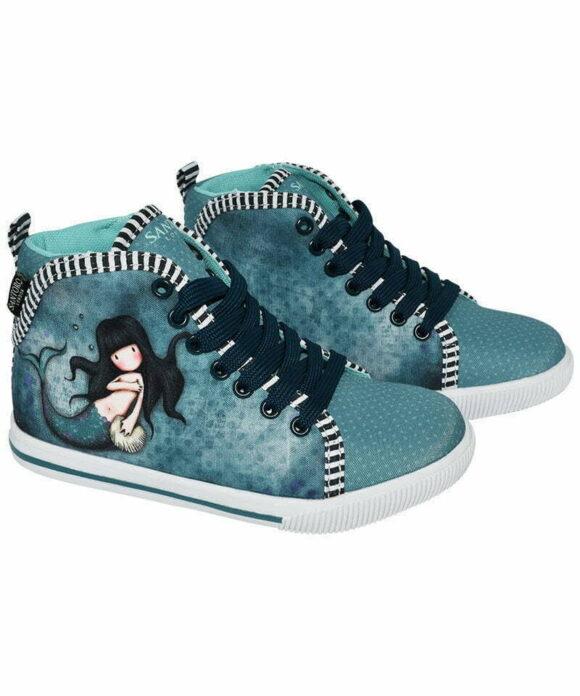 """Παιδικά πάνινα παπούτσια ψηλά με κορδόνια Santoro Gorjuss """"AWASHED"""" - SANTORO"""